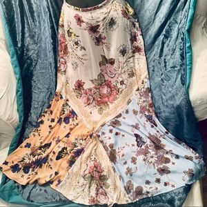 FREE PEOPLE PATCHWORK FLORAL MAXI SKIRT 0